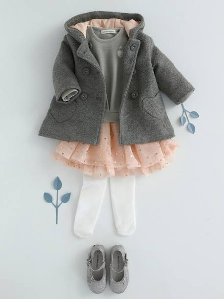 Baby Girls' Woollen Coat BLUE DARK SOLID+GREY MEDIUM MIXED COLOR+PINK DARK SOLID