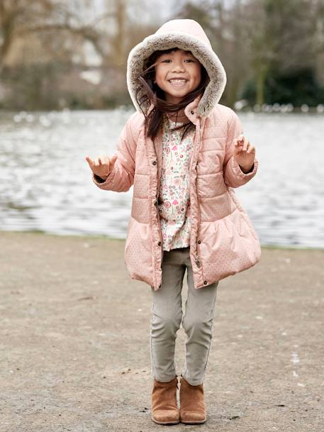Girls' Printed Hooded Padded Jacket GREY DARK ALL OVER PRINTED+PINK LIGHT ALL OVER PRINTED