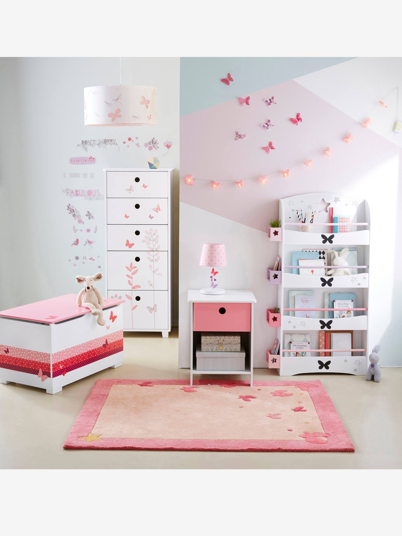 Butterfly Rug PINK LIGHT SOLID WITH DESIGN