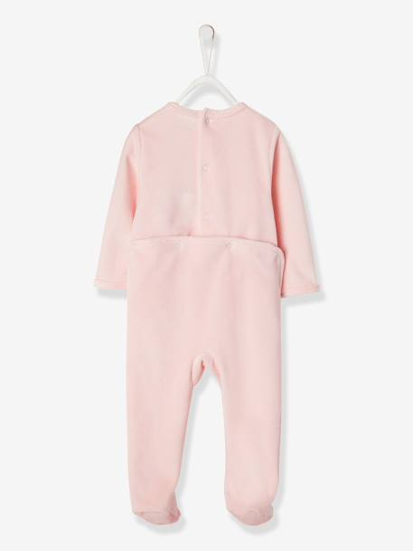 Baby Velour Pyjamas PINK LIGHT SOLID WITH DESIGN
