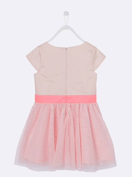 Girls' Occasion Bi-Material Dress PINK LIGHT SOLID+WHITE LIGHT SOLID