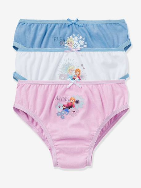 Girls' Pack of 3 Pairs of Frozen® Assorted Briefs BLUE LIGHT SOLID WITH DESIGN