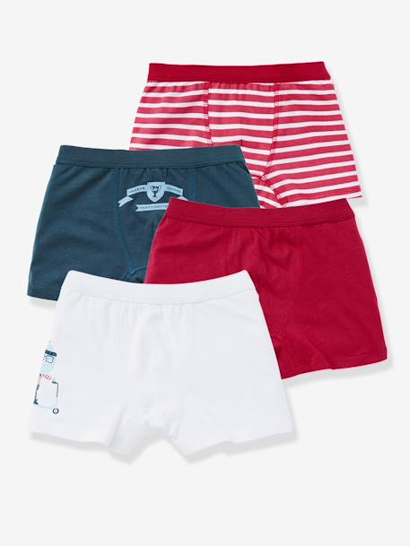 Boys' Pack of 4 Boxer Shorts BLUE MEDIUM TWO COLOR/MULTICOL+RED DARK 2 COLOR/MULTICOLOR
