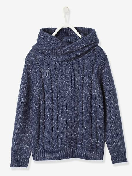 Boys' Hooded Jumper BLUE DARK MIXED COLOR+GREY MEDIUM MIXED COLOR