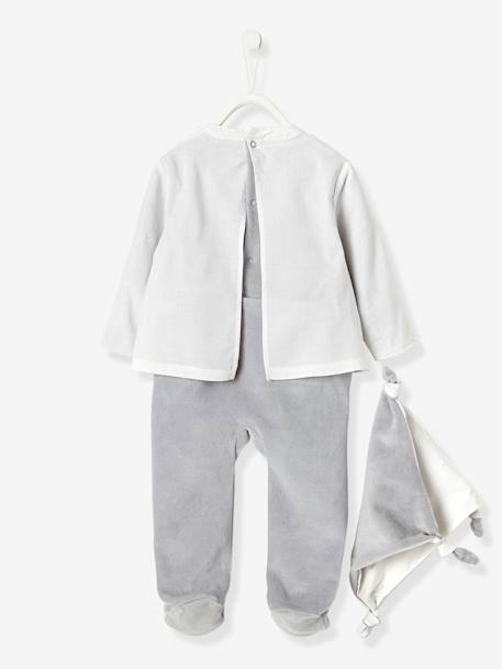 Baby Velour & Voule Pyjama-Blouse with Back Press-Studs & Soft Toy WHITE MEDIUM SOLID WITH DESIGN