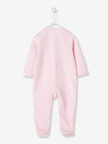 Baby Organic Cotton Velour Pyjamas PINK LIGHT ALL OVER PRINTED+WHITE LIGHT SOLID WITH DESIGN