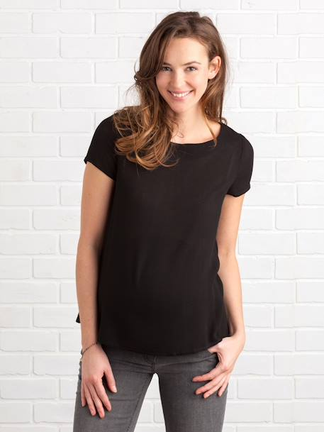 Maternity Blouse with Back Opening BLACK DARK SOLID+WHITE LIGHT SOLID