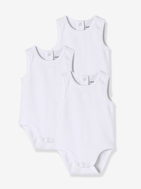 Babies' Pack of 3 Sleeveless Bodysuits, Organic Collection WHITE MEDIUM SOLID