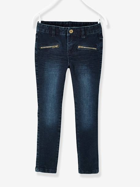 MEDIUM Fit - Girls' Skinny Denim Trousers BLUE DARK SOLID