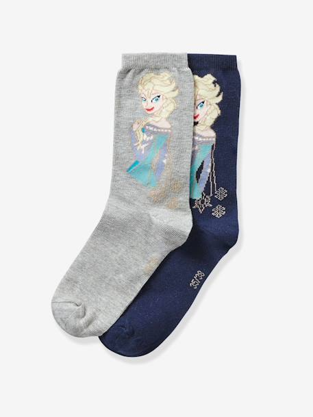 Girls' Pack of 3 Pairs of Frozen® Socks WHITE MEDIUM SOLID WITH DESIGN