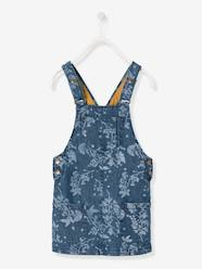 Girls-Girls' Printed Denim Pinafore Dress
