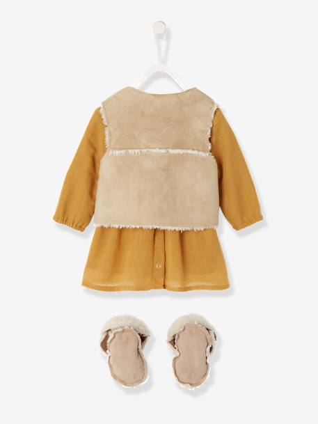 Baby Crepon Dress + Waistcoat + Embroidered Booties Outfit YELLOW DARK SOLID WITH DESIGN