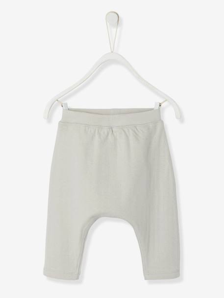 Baby Harem-Style Openwork Knit Bottoms, Organic Collection GREY LIGHT SOLID+White
