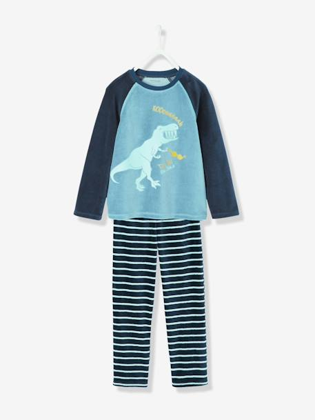 Boys' Velour Pyjamas BLUE DARK SOLID WITH DESIGN