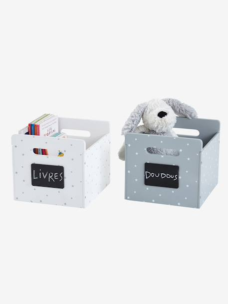 Set of 2 Sirius Storage Boxes WHITE LIGHT SOLID WITH DESIGN