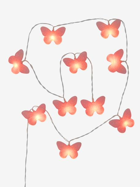 Luminous Glittery Butterfly Garland PINK MEDIUM SOLID WITH DESIG