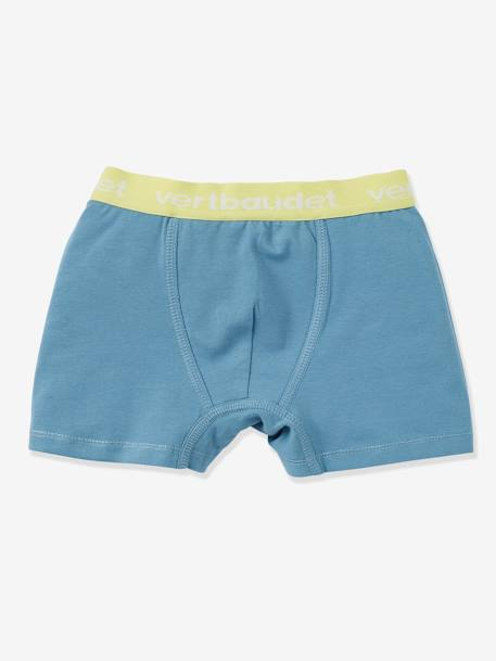 Boys' Pack of 3 Stretch Boxer Shorts BLUE LIGHT STRIPED+Pearl + white
