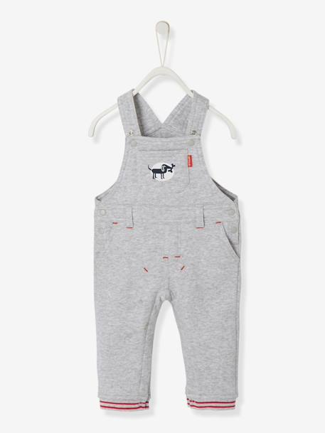 Baby Boys' Lined Fleece Dungarees GREY MEDIUM MIXED COLOR