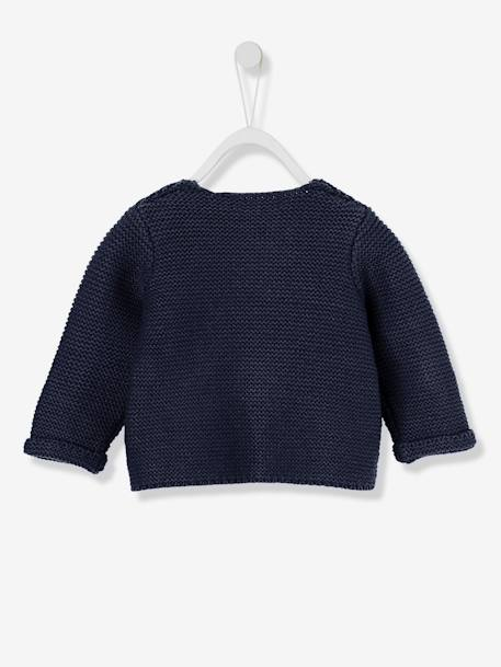 Baby's Garter Stitch Knit Cardigan BLUE DARK SOLID+GREY LIGHT METALLIZED+YELLOW DARK SOLID