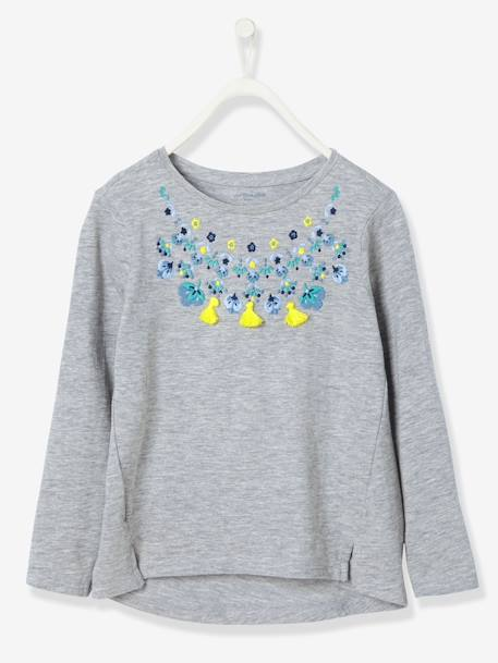 Girls' Embroidered T-Shirt BLUE DARK SOLID WITH DESIGN+GREY LIGHT MIXED COLOR+WHITE LIGHT SOLID WITH DESIGN
