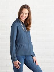 DENIMCOLLECTION-Maternity-Embroidered Denim Maternity Shirt