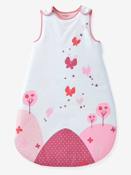 Sleeveless Sleep Bag, Butterfly Theme PINK LIGHT SOLID WITH DESIGN