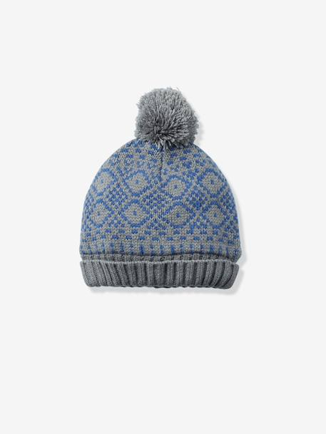 Boys' Lined Beanie BLUE DARK ALL OVER PRINTED