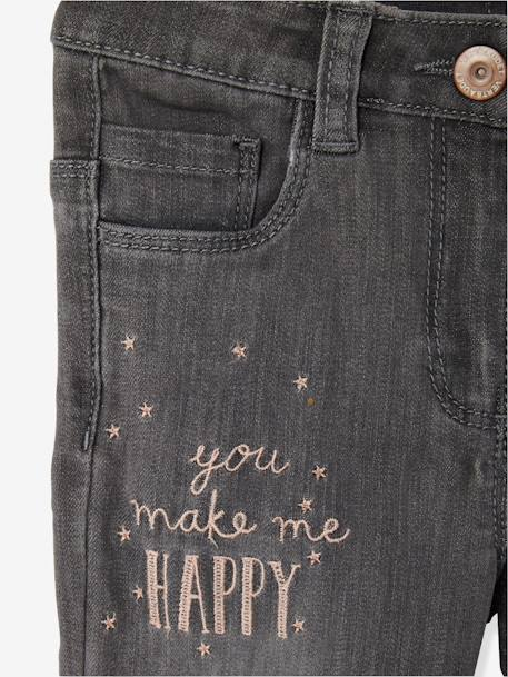 Girls' Embroidered Skinny Jeans GREY MEDIUM WASCHED
