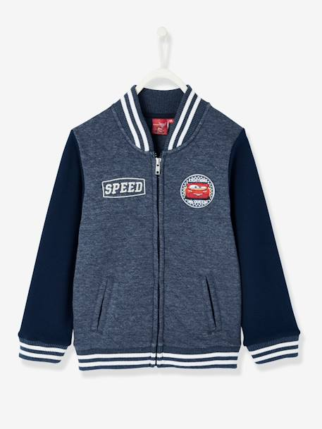 Boys' Teddy-Style Jacket, Cars® Theme BLUE DARK SOLID WITH DESIGN