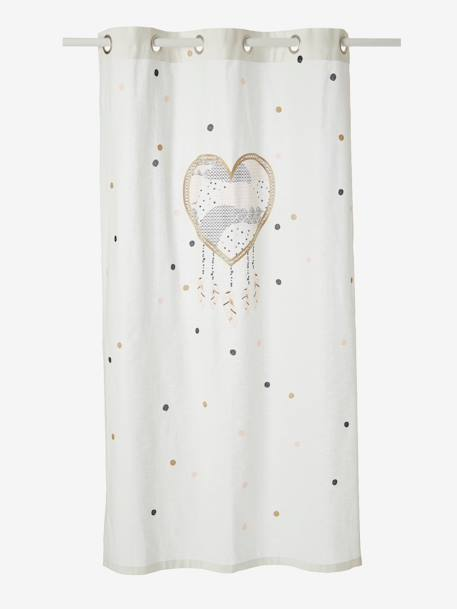 Sheer Curtain Dream Catcher Theme WHITE LIGHT SOLID WITH DESIGN
