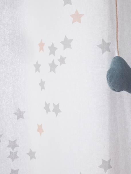 Sheer Curtain, Like-a-Star Theme WHITE LIGHT SOLID WITH DESIGN
