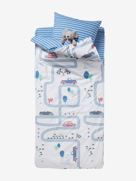 Ready-for- Bed 3-Piece Set without Duvet, Racing Track Theme BLUE LIGHT TWO COLOR/MULTICOL