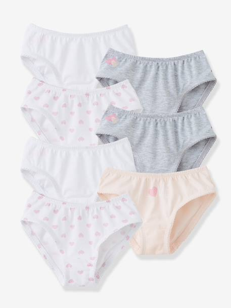 Pack of 7 Briefs PINK LIGHT SOLID+White + pink + light grey