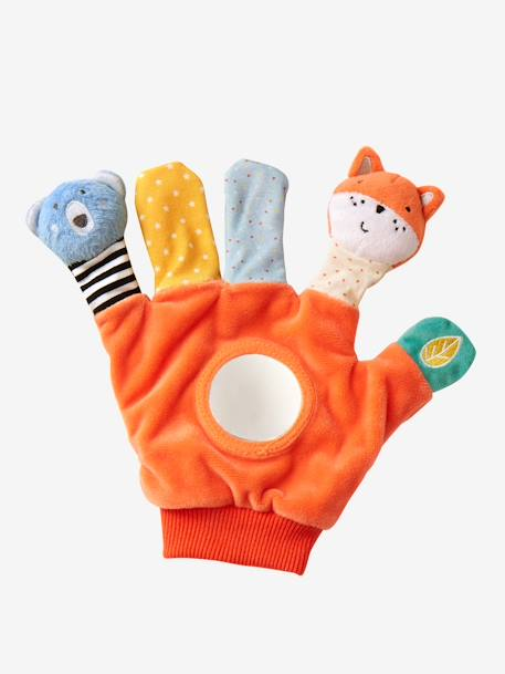 Puppet-Glove with Activities ORANGE MEDIUM SOLID WITH DESIG