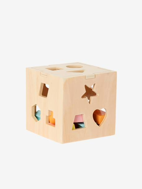 Box with Wooden Shapes to Sort and Fit PINK MEDIUM SOLID WITH DESIG