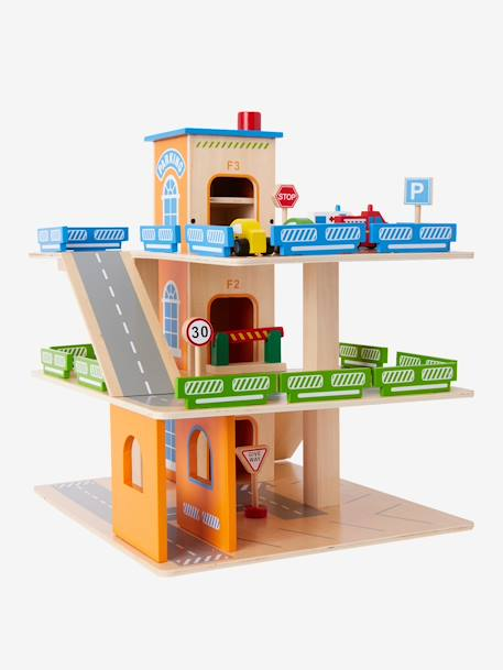 Wooden Car Park + Accessories BLUE MEDIUM SOLID