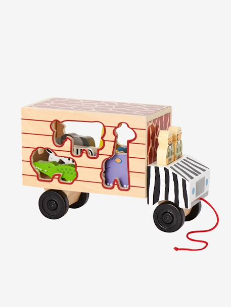 Wooden Lorry with Animals to Sort BLACK MEDIUM SOLID WITH DESIGN