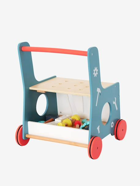 Wooden Tool Bench on Wheels BLUE MEDIUM SOLID WITH DESIGN