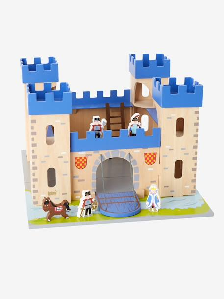 Wooden Castle and Dolls BROWN LIGHT SOLID WITH DESIGN