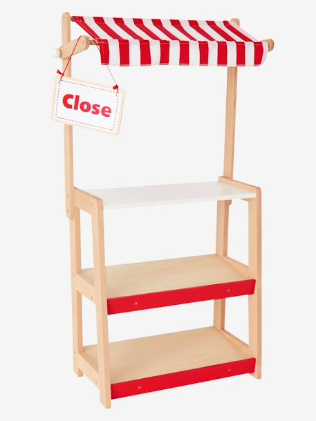 Wooden Stall RED MEDIUM SOLID WITH DESIG