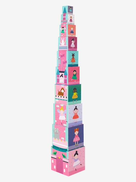 Giant 10-Cube Tower, Princess Theme PINK LIGHT SOLID WITH DESIGN