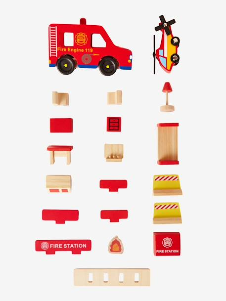 Wooden Fire Station & Accessories RED MEDIUM SOLID WITH DESIG