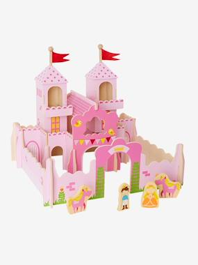 Wooden Princess Castle with Characters pink medium solid with desig