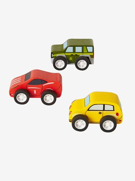 Set of 3 Wooden Cars RED MEDIUM SOLID WITH DESIG