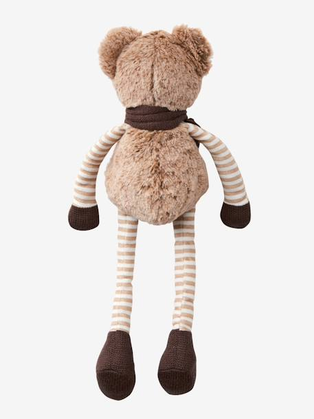 SOFT TOY BROWN MEDIUM SOLID WITH DESIGN