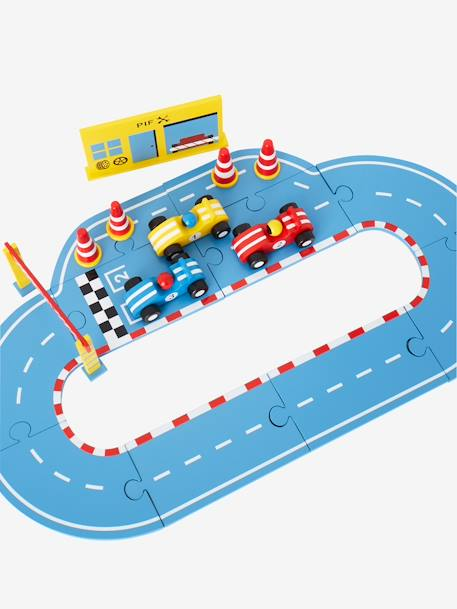 Wooden Race Track with Cars and Accessories GREY MEDIUM SOLID WITH DESIGN