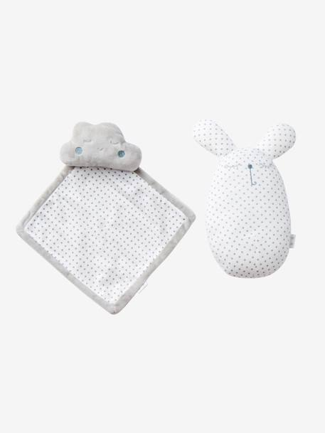 Cloud & Rabbit Rattle Set GREY LIGHT SOLID WITH DESIGN