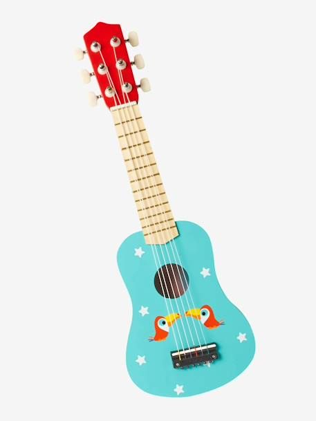 Wooden Guitar Decorated with Toucans BLUE MEDIUM SOLID WITH DESIGN