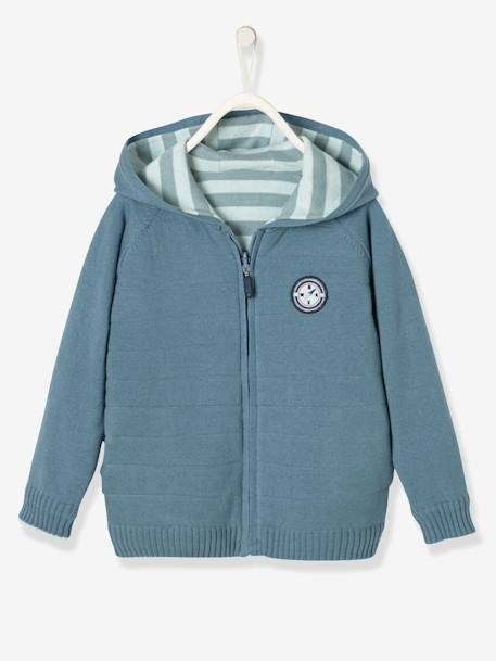 Boys' Reversible Knitted Cardigan BLUE DARK MIXED COLOR