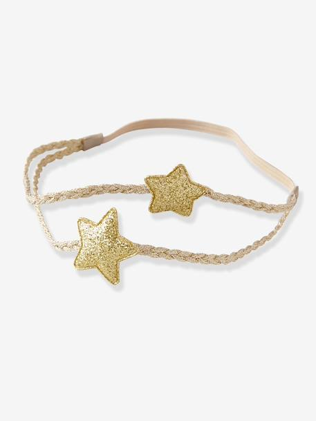 Double-Braided Headband with 2 Stars Gold / stars
